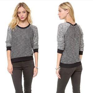 Splendid Black & White Heathered Zip Sweater